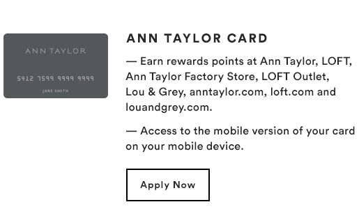ANN TAYLOR CARD - Apple Now