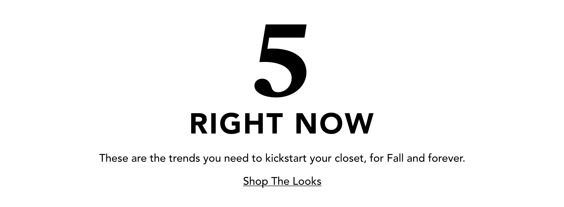 5 RIGHT NOW - Shop The Looks