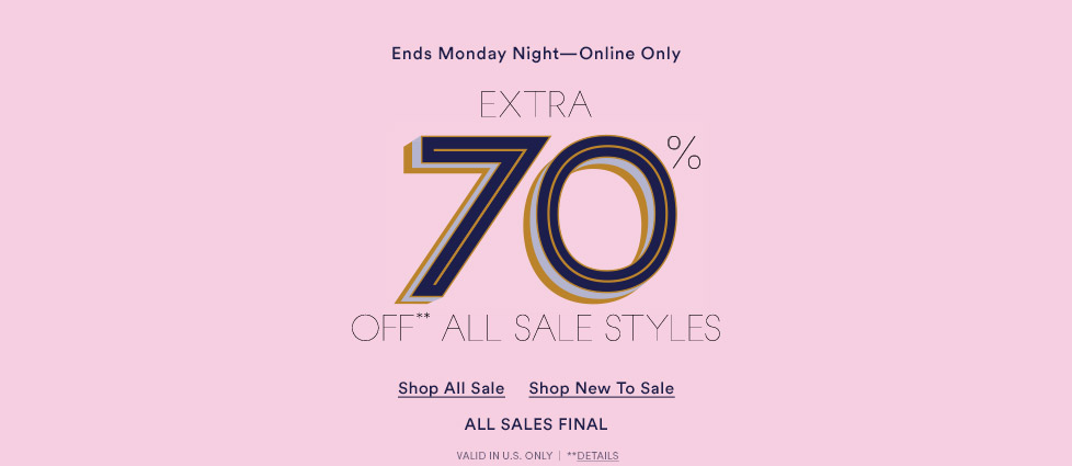 Extra 70A% Off All Sale Styles