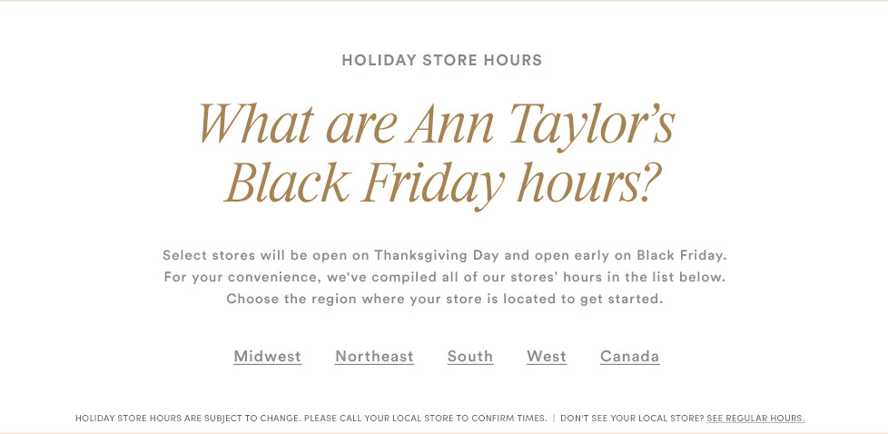 Ann Taylor Black Friday 2021 Ad, Deals, Store hours & Sales 1