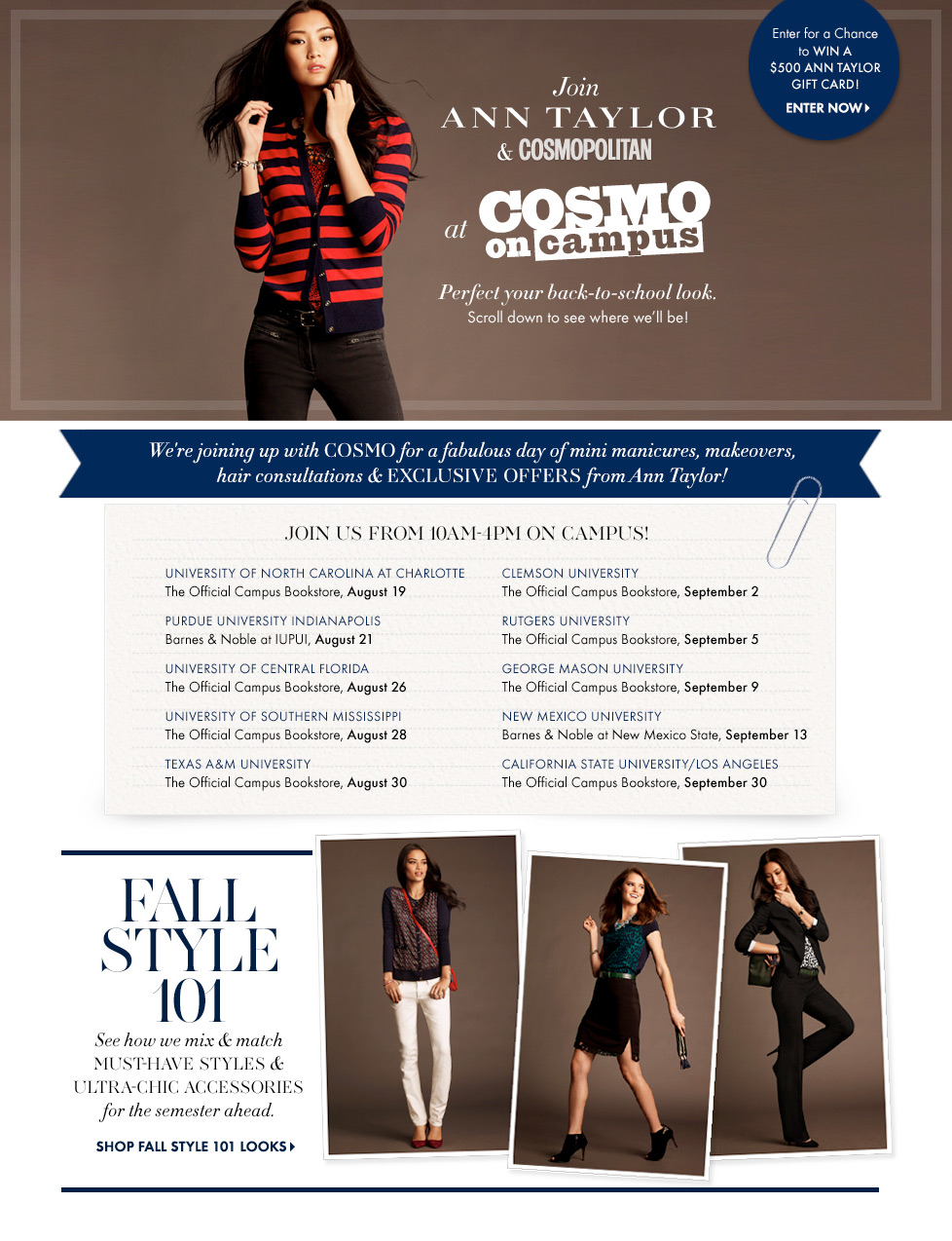 ANN TAYLOR AND COSMOPOLITAN PRESENT COSMO ON CAMPUS