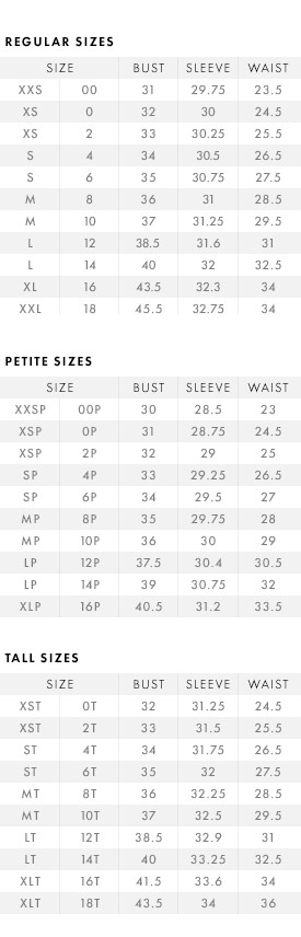 tops size guide
